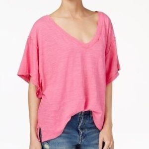 Free People Distressed Cotton V-Neck T-Shirt